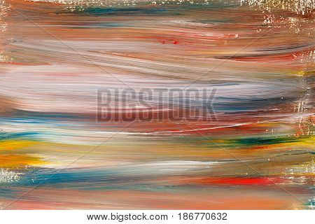 Multicolored abstract background painted with gouache. Design element. Children's creativity. Expressive painting with gouache paints. Grunge background.