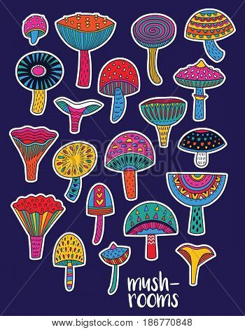Collection of patches decorative mushrooms in acid colors. Vector illustration. Stickers of colorful stylized mushrooms