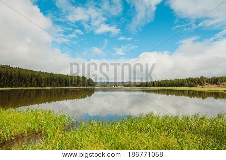 Landscape of a calm inlet of the Yellowstone River with clouds reflecting on the surface Wyoming USA..