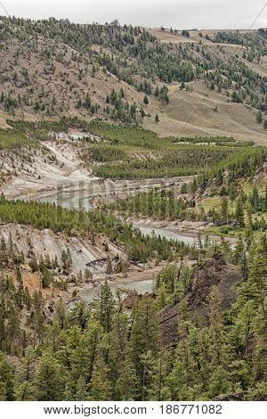 Portrait Landscape of the winding Yellowstone River Wyoming USA.
