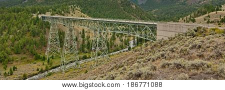 Panoramic landscape of the Grand Loop Trestle Bridge Yellowstone National Park Wyoming USA.
