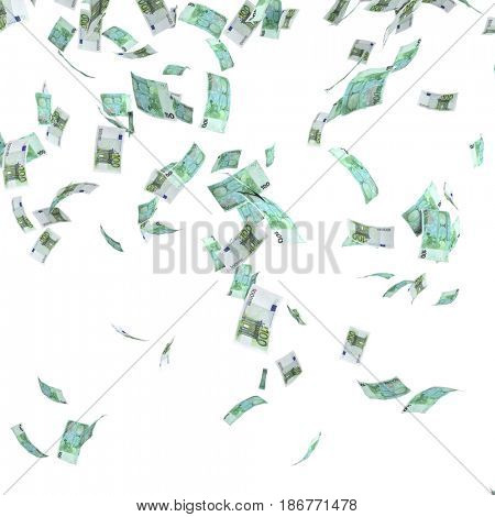 euro money rain 3d rendering image