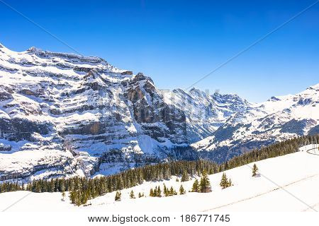 Beautiful Snow Alps Mountain at Jungfrau, Switzerland.
