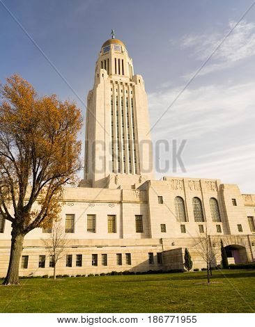 Leaves still hold on in December at the Nebraska State Capital