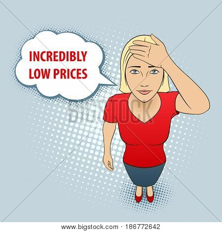 Woman in Red Blouse holds on to Her Head. Incredibly Low Price
