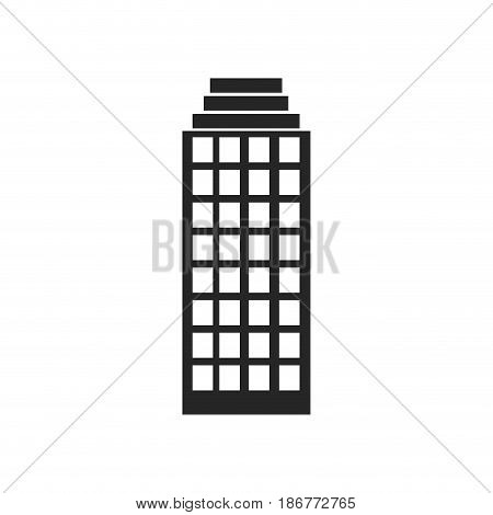 silhouette monochrome of building skyscraper with several windows vector illustration