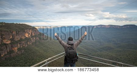 The traveller on the top of Blue mountains national park in New south wales, Australia.