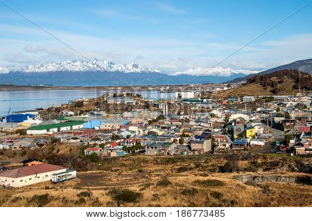 Ushuaia. Colourful Houses In The Patagonian City, Argentina
