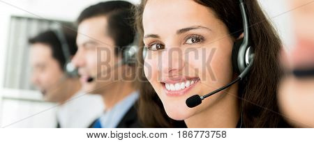 Customer service call center team panoramic banner
