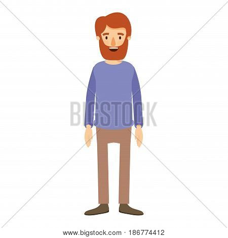 colorful image caricature full body man with beard and moustache with clothing vector illustration