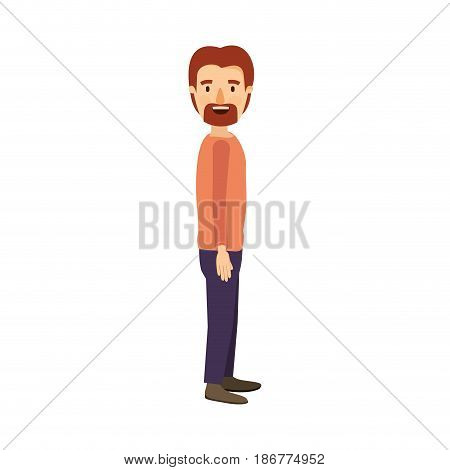 colorful image caricature full body male person with beard and moustache looking to side vector illustration