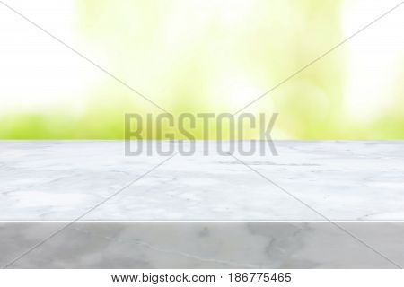 Marble stone countertop on white green abstract background - can be used for display or montage your products