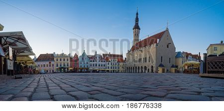 Tallinn Estonia - May 7 2017: Panorama of the Town hall and Raekoja square by early morning.