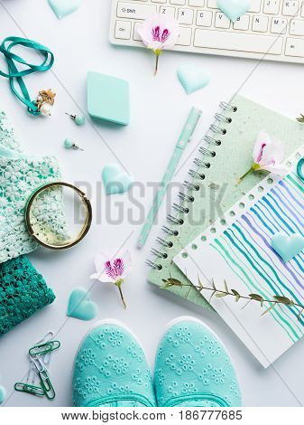 Green Pastel Lifestyle Woman Clothes Flat Lay