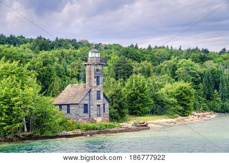 Wooden lighthouse on Grand Island outside of Munising, Michigan