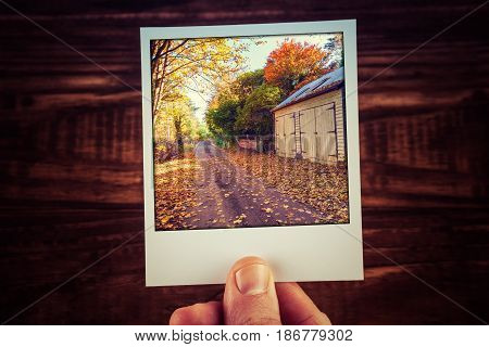 Male Hand Holding Polaroid Photo Of Rural Road Passing Wooden Shed Among Yellow And Orange Trees In