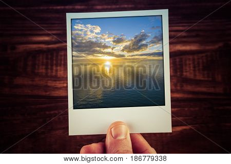 Polaroid Postcard Of Golden Sunset Over Water. Nothing But Skies, Sun And Water. Perfect For Scrapbo