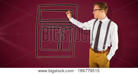 Geeky businessman writing with marker against pink background