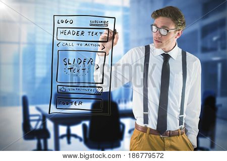 Geeky businessman writing with marker against composite image of chairs and table in office