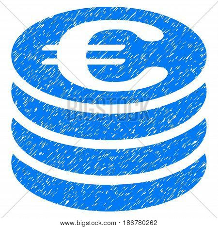 Grunge Euro Coin Column icon with grunge design and dirty texture. Unclean vector blue pictogram for rubber seal stamp imitations and watermarks. Draft sticker symbol.