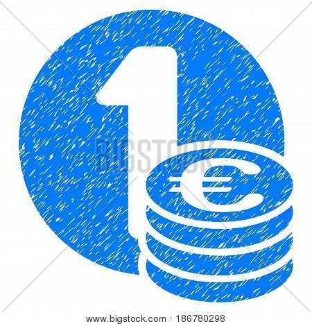 Grunge Euro Coin Column icon with grunge design and scratched texture. Unclean vector blue pictogram for rubber seal stamp imitations and watermarks. Draft emblem symbol.