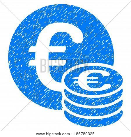 Grunge Euro Coin Stack icon with grunge design and scratched texture. Unclean vector blue pictogram for rubber seal stamp imitations and watermarks. Draft emblem symbol.
