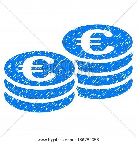 Grunge Euro Coin Stacks icon with grunge design and dirty texture. Unclean vector blue pictogram for rubber seal stamp imitations and watermarks. Draft emblem symbol.