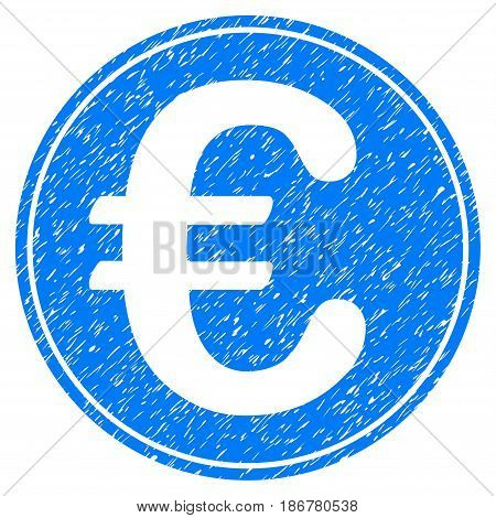 Grunge Euro Coin icon with grunge design and scratched texture. Unclean vector blue pictogram for rubber seal stamp imitations and watermarks. Draft sign symbol.