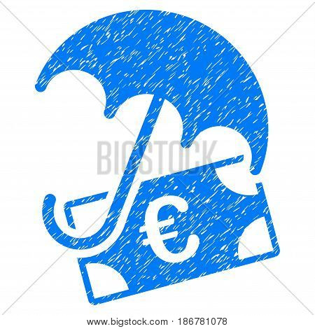 Grunge Euro Financial Umbrella icon with grunge design and scratched texture. Unclean vector blue pictogram for rubber seal stamp imitations and watermarks. Draft sign symbol.