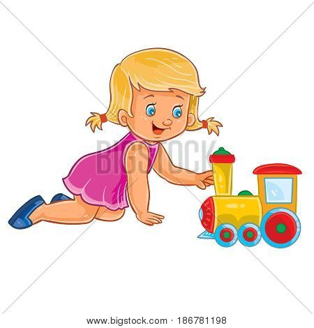 Vector clip art illustration of a little girl crawling on her knees on the floor and playing with a steam locomotive. Print, template, design element