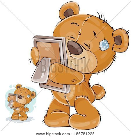 Vector illustration of a brown teddy bear misses someone and hugs a photo. I miss you. Print, template, design element