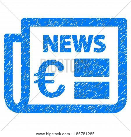 Grunge Euro Newspaper icon with grunge design and unclean texture. Unclean vector blue pictogram for rubber seal stamp imitations and watermarks. Draft sticker symbol.