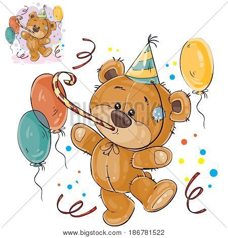 Vector illustration of a brown teddy bear in a cardboard hat and with a whistle surrounded by balloons. Print, template, design element for greeting cards and invitations to a party