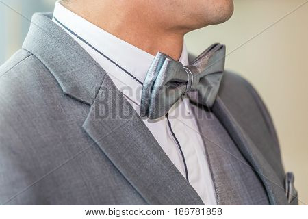 Close-up unidentified young businessman wearing a gray bow tie and fashionable formal suit.