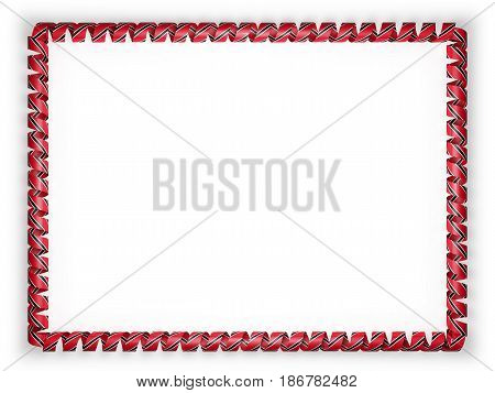 Frame and border of ribbon with the Trinidad and Tobago flag. 3d illustration