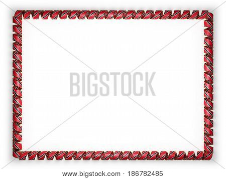 Frame and border of ribbon with the Trinidad and Tobago flag edging from the golden rope. 3d illustration
