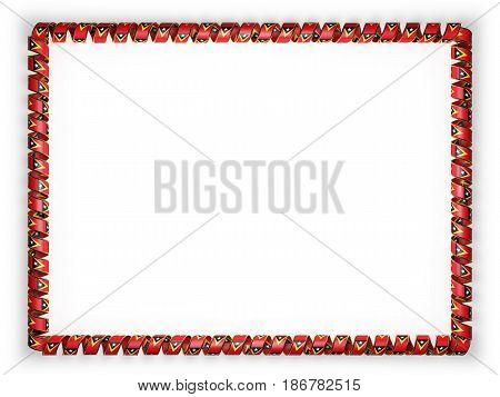 Frame and border of ribbon with the Timor Leste flag edging from the golden rope. 3d illustration
