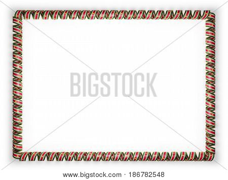 Frame and border of ribbon with the Suriname flag edging from the golden rope. 3d illustration