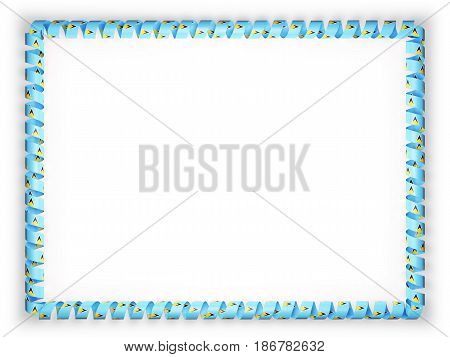Frame and border of ribbon with the Saint Lucia flag. 3d illustration