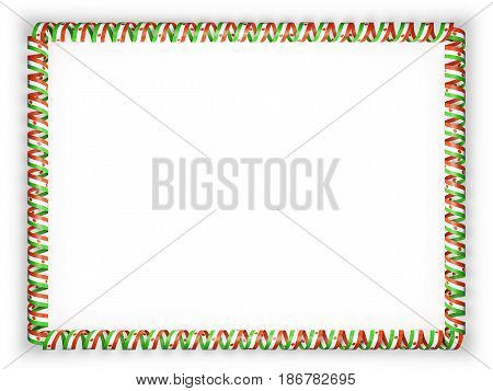 Frame and border of ribbon with the Niger flag. 3d illustration