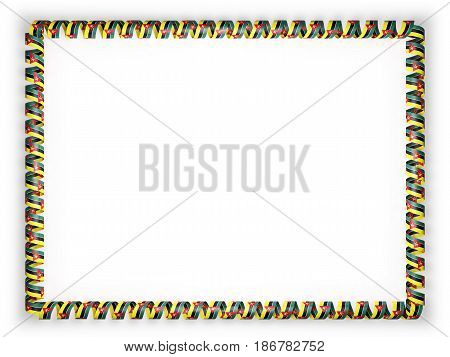 Frame and border of ribbon with the Mozambique flag. 3d illustration