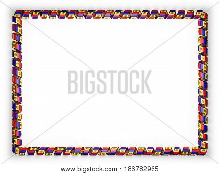 Frame and border of ribbon with the Moldova flag edging from the golden rope. 3d illustration