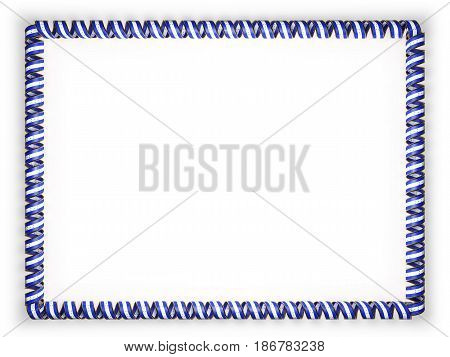 Frame and border of ribbon with the Honduras flag edging from the golden rope. 3d illustration