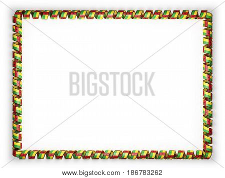 Frame and border of ribbon with the Guinea Bissau flag edging from the golden rope. 3d illustration