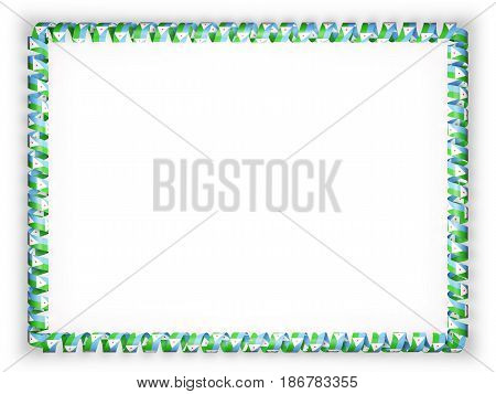 Frame and border of ribbon with the Djibouti flag. 3d illustration