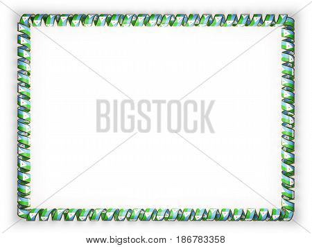 Frame and border of ribbon with the Djibouti flag edging from the golden rope. 3d illustration