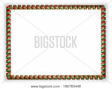 Frame and border of ribbon with the Burkina Faso flag edging from the golden rope. 3d illustration