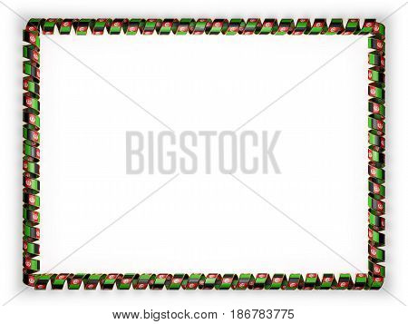 Frame and border of ribbon with the Afghanistan flag edging from the golden rope. 3d illustration