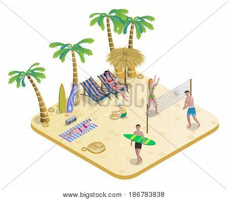 Isometric people on tropical beach concept with sunbathing volleyball surfing palm trees boombox sand castle isolated vector illustration