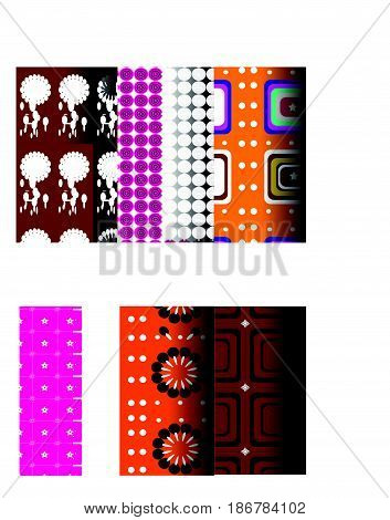 Ten series patterns geometric patterns retro used orange green yellow